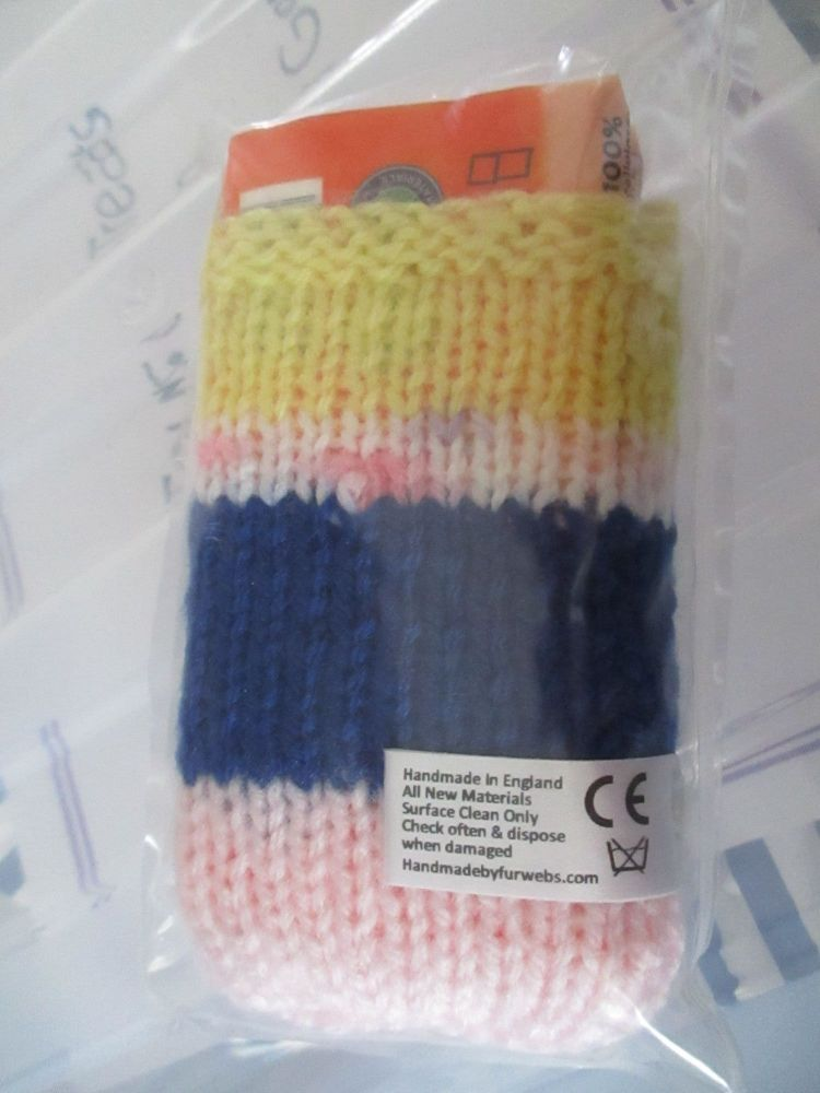 Pink / Blue / Yellow / Speckled Knitted Tissue Caddy with Tissues - Knitted
