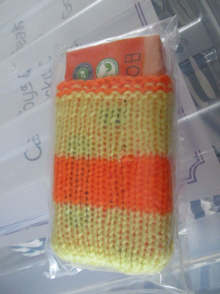 Yellow / Orange Stripe Knitted Tissue Caddy with Tissues - Knitted By Kitty