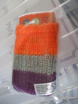 Purple / Orange / Grey Knitted Tissue Caddy with Tissues - Knitted By KittyMumma