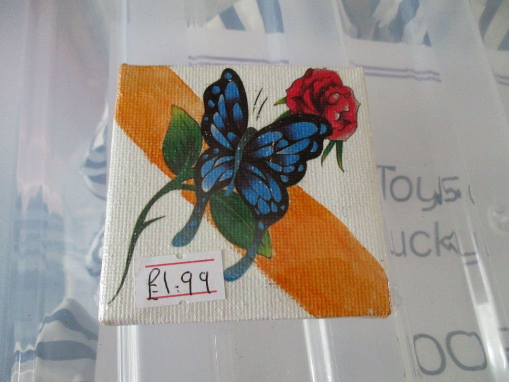 Rose / Butterfly on Orange Dash- 7cm Box Fram Canvas - JGPaws