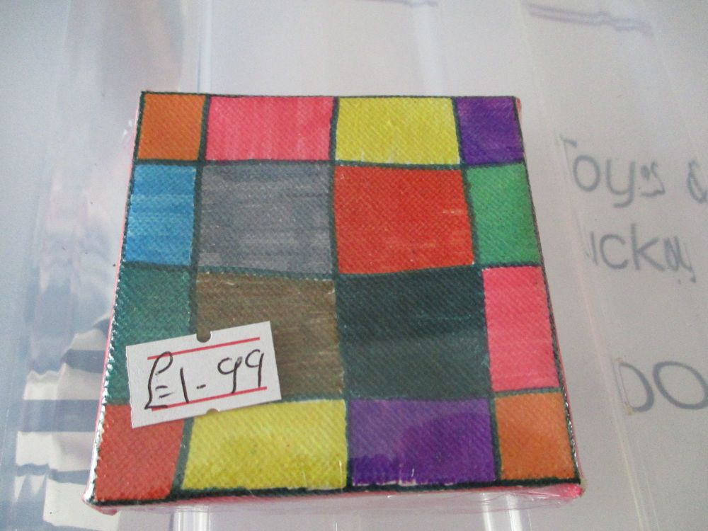 Multi Coloured Chequered Squares - 7cm Box Frame Canvas - JGPaws