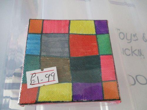 Multi Coloured Chequered Squares - 7cm Box Frame Canvas - JGPaws
