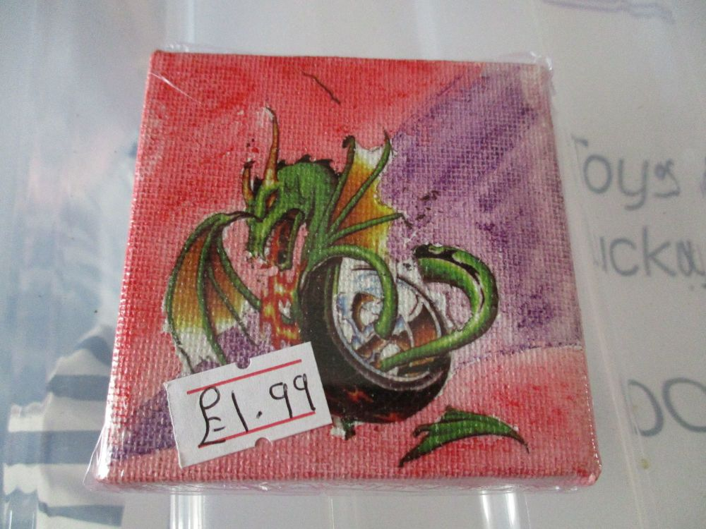Dragon in a Tyre - 7cm Box Frame Canvas - JGPaws