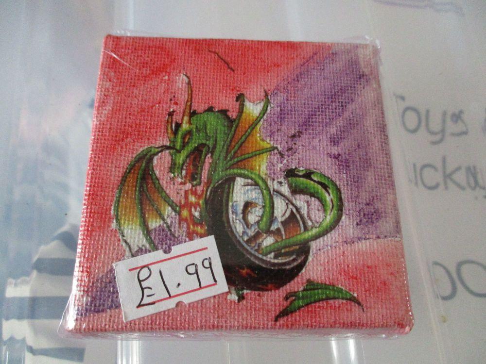 Dragon in a Tyre - 7cm Box Frame Canvas - JGPaws