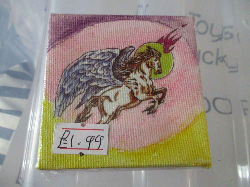 Pegasus on Pink / Yellow & Purple - 7cm Box Frame Canvas - JGPaws