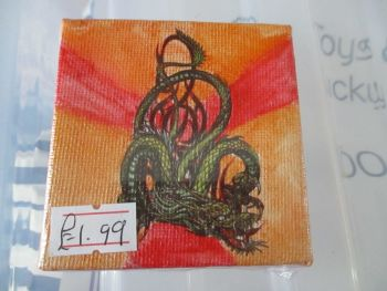 Dragon on Red / Orange - 7cm Box Frame Canvas - JGPaws