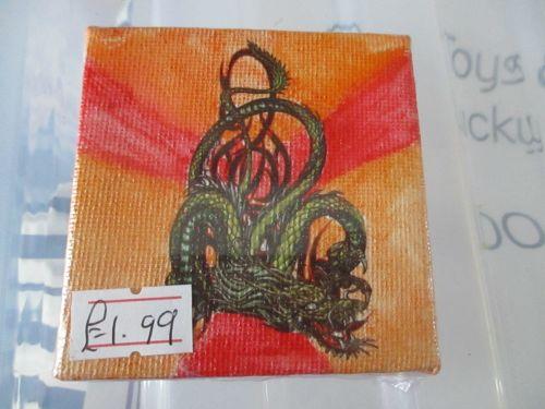 Dragon on Red / Orange - 7cm Box Frame Canvas - JGPaws