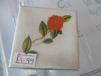 Rose with Leaves - 7cm Box Frame Canvas - JGPaws