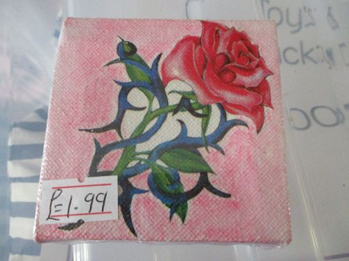 Rose And Thorns on Pink - 7cm Box Frame Canvas - JGPaws