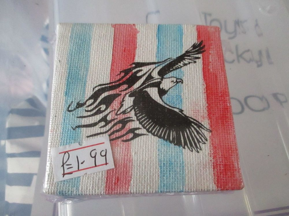 Eagle on Red White Blue - 7cm Box Frame Canvas - JGPaws