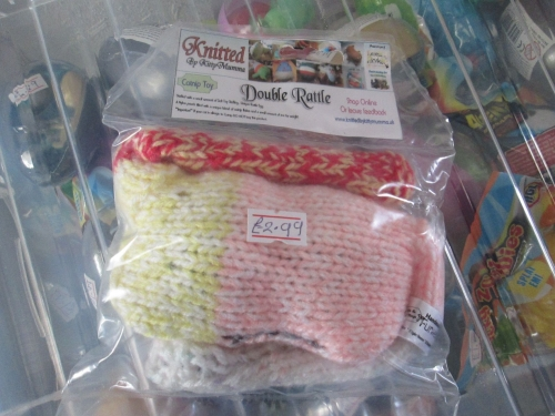 White / Pink / Yellow / Red Knitted Catnip Double Rattle - Knitted By Kitty