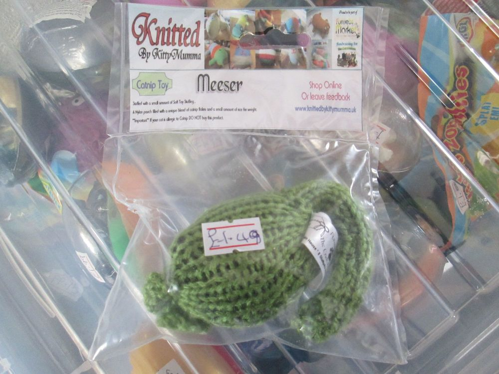 Green Knitted Catnip Meeser - Knitted By KittyMumma