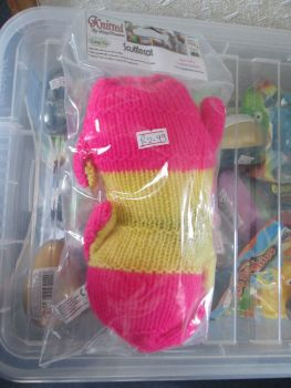 Pink / Yellow Knitted Catnip Scuttecat - Knitted By KittyMumma