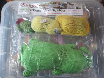 Green / Yellow Knitted Catnip Toys Goody Bag - Knitted By KittyMumma