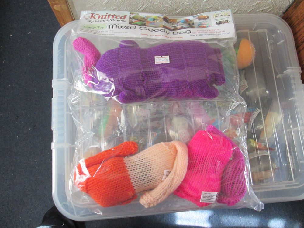 Purple / Orange / Peach / Pink Knitted Catnip Toys Goody Bag - Knitted By K
