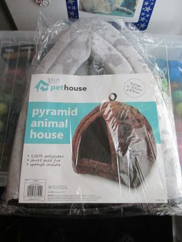Grey Pet House Pyramid Pop Up Animal House