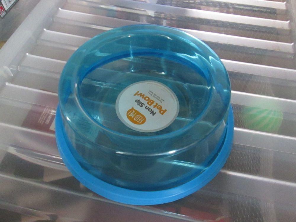 Blue Transparent Non-Slip Pet Bowl