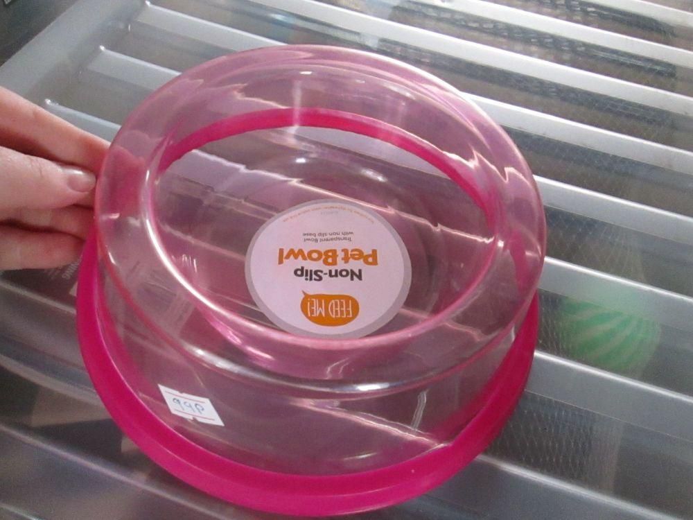 Pink Transparent Non-Slip Pet Bowl
