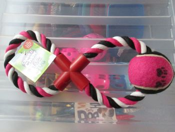 Pink Fletchers Chase & Chew Figure 8 Rope Toy