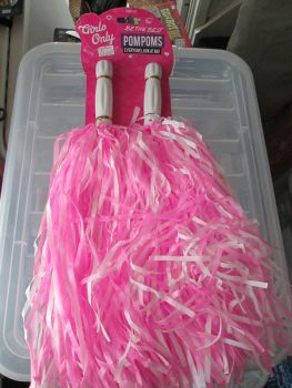 Pink & White Girls Only Plastic Pom Poms