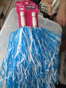 Blue & White Girls Only Plastic Pom Poms
