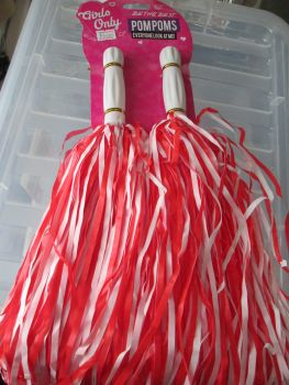 Red & White Girls Only Plastic Pom Poms