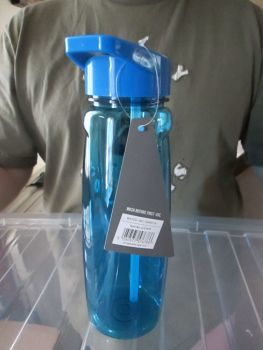Blue - 750ml Sports Bottle with Integrated Straw