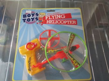 Yellow Boys Toys Pull String Flying Helicopter