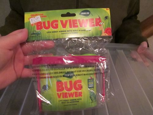 Pink Lid Crawlies Bug Viewer with Tweezers