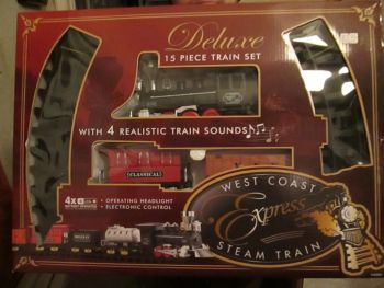 15pc Red Carriage Deluxe Train Set - West Coast Express Steam Train