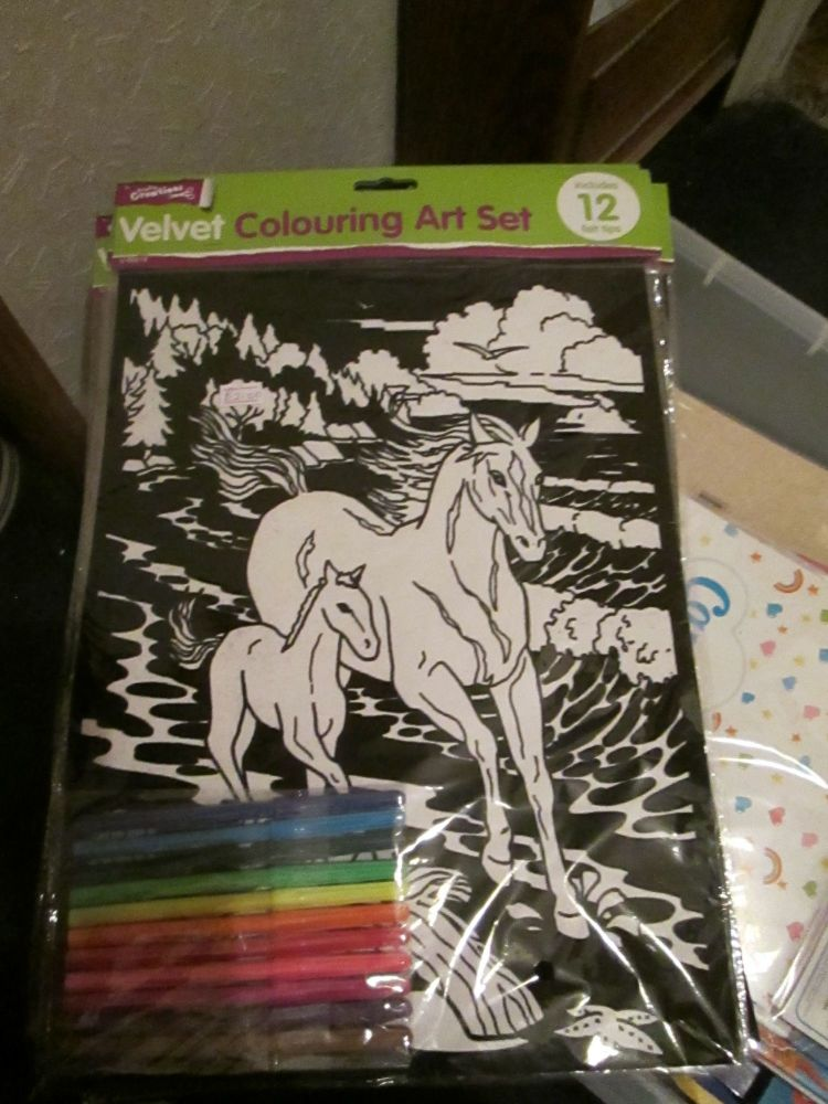 Horses - Velvet Colouring Art Set with 12 Felt Pens - Crafty Creations