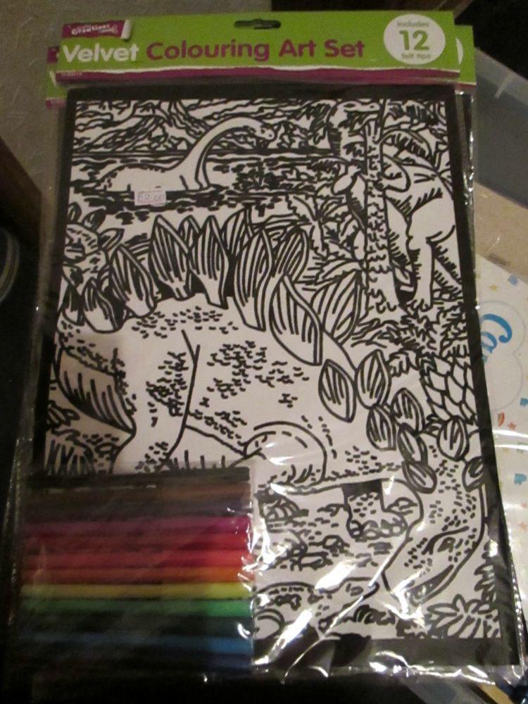 Dinosaurs - Velvet Colouring Art Set with 12 Felt Pens - Crafty Creations