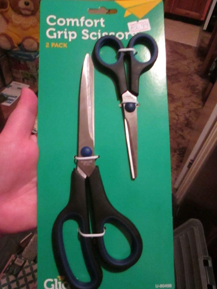 Blue / Black Comfort Grip Scissors 2pk