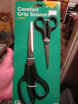 Green / Black Comfort Grip Scissors 2pk - Glide