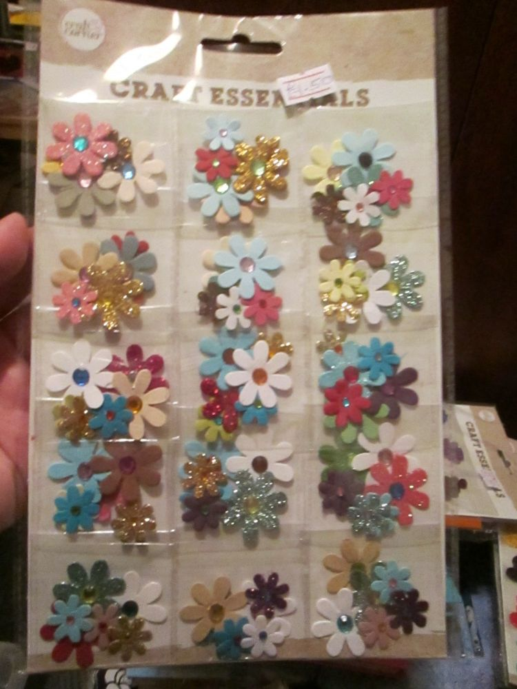 15 Pouch Glittered Flowers Selection - Craft Corner - Craft Essentials