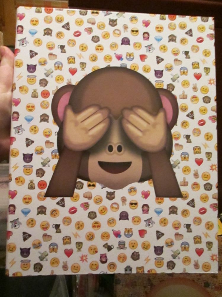 Emoticon Monkey A4 Two Hole Ring Binder Hardback