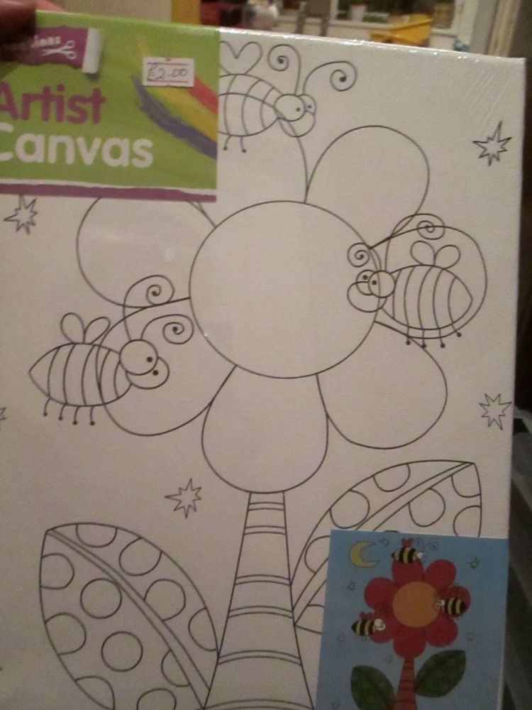 Bees & Flower - Crafty Creations - Artists Canvas