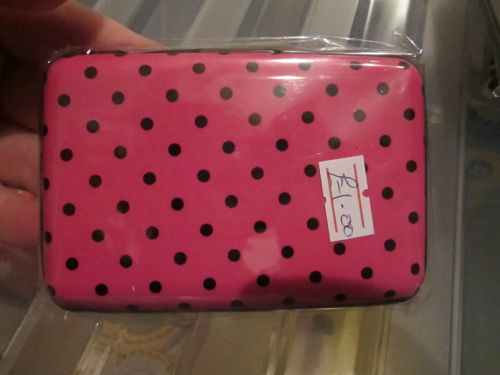 Pink Polka Dot 6 Pocket Aluminium Credit Card Case