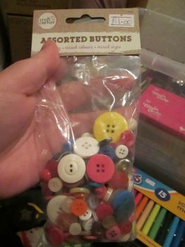 Brights 100g - Craft Corner - Assorted Buttons