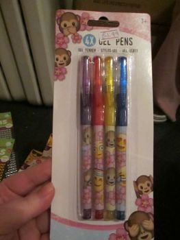 Emoticon Monkey 4pc Glitter Gel Pens