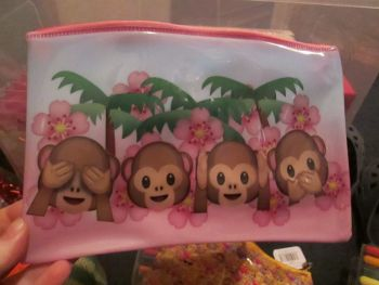 Emoticon Monkey - Licensed PVC Flatline Pencil Case