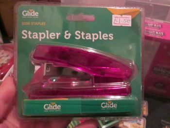 Pink Stapler with 1000 Staples - Glide