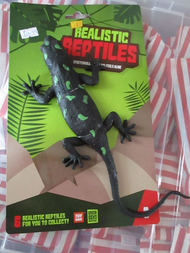 Black / Green Splodge Lizard - Stretchy Rubbery- Realistic Reptiles