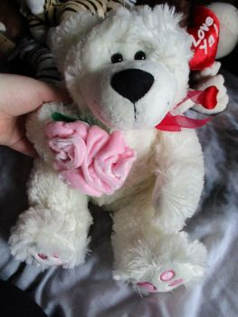 White Bear with Pink Flowers - Soft Toy