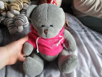 Grey Bear with Pink Hoodie - Soft Sensations - Soft Toy