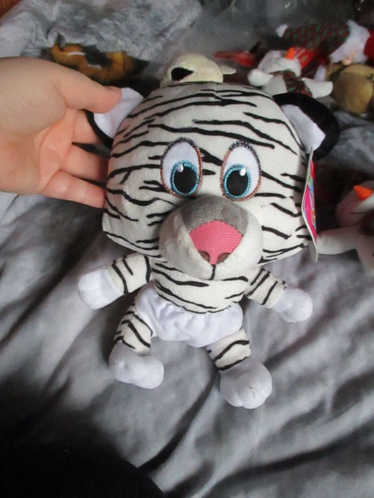 White / Black Tiger with White Nappy - Character Co - Soft Toy