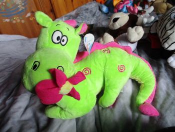 Green / Pink Dragon with Flower in Mouth - Tender Moments - Soft Toy