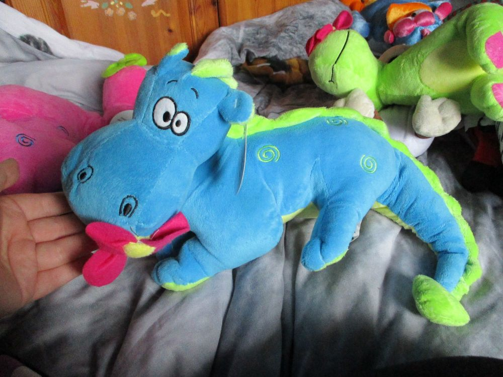 Blue / Green Dragon with Flower in Mouth - Tender Moments - Soft Toy
