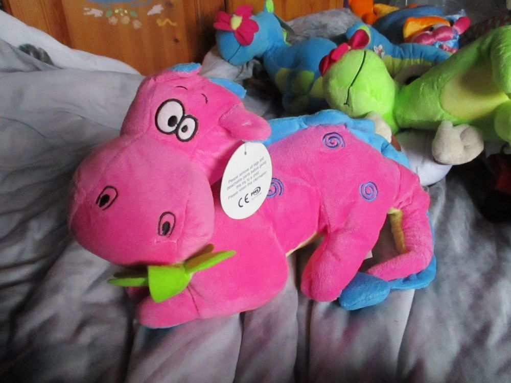 Pink / Blue Dragon with Flower in Mouth - Tender Moments - Soft Toy