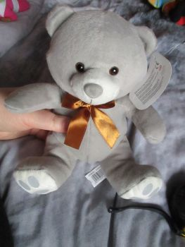 Grey Bear with Ribbon - Character Co - Soft Toy